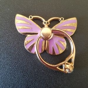 Beautiful Purple Butterfly Phone Ring ~ Kickstand